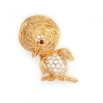 Yellow Gold Duck Pin