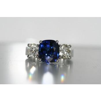 Platinum Sapphire and Diamond Ring.