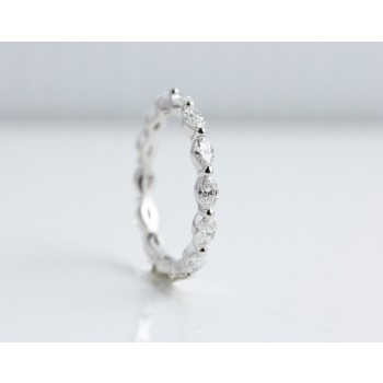 18 Karat White Gold Marquise Hand made Eternity Diamond Band.