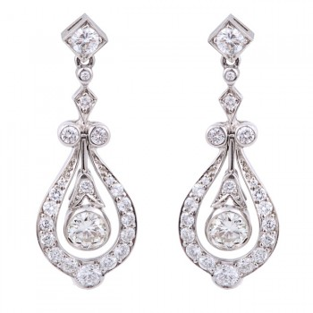 Platinum Diamond Drop Earrings