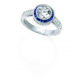 Platinum Diamond Sapphire Ring
