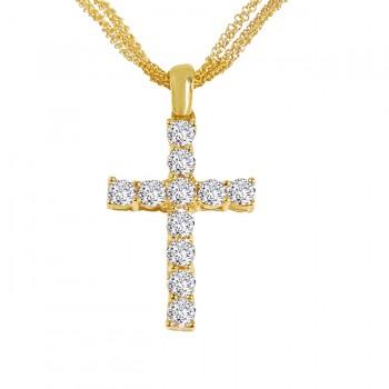 18K Yellow Gold Diamond Cross