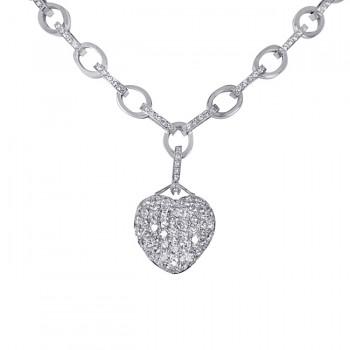 18K White Gold Diamond Heart Necklace