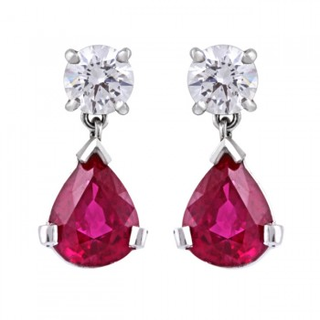 Platinum Diamond and Ruby Drop Earrings