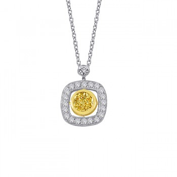 Platinum and 18 karat yellow gold fancy yellow diamond pendant.