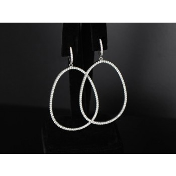 Oval shape Diamond hoops