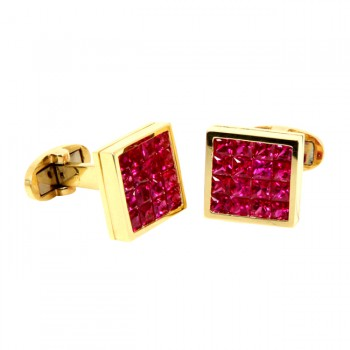 18 Karat Yellow Gold Ruby Cufflinks.